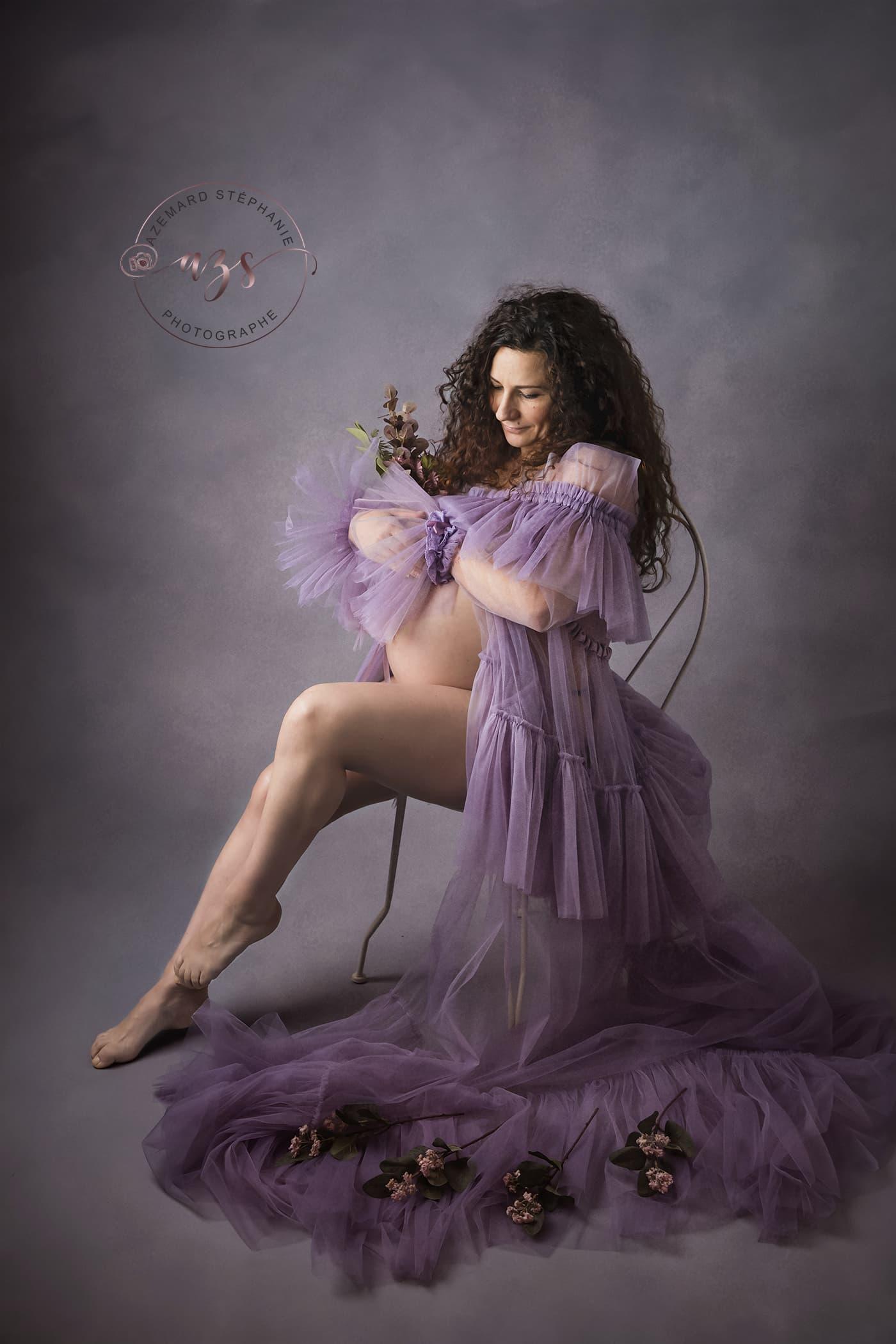 Photo de grossesse avec robe katharina tulle réalisé par Azemard Stéphanie photographe